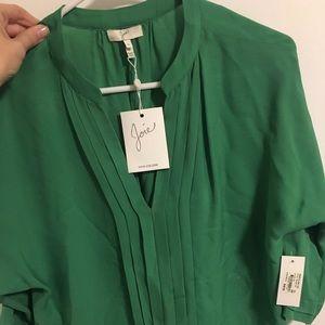 Joie green silk blouse